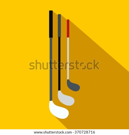 Golf clubs flat icon - stock vector