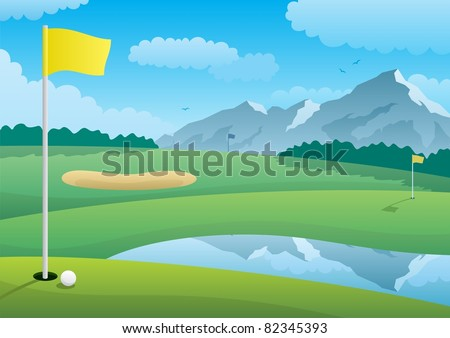 Golf Course: A golf course landscape. No transparency used. Basic (linear) gradients. A4 proportions. - stock vector