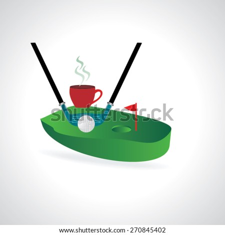 golf course concept ball pushing with hole vector illustration  - stock vector