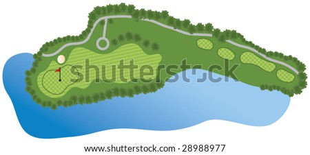 Golf Course Hole with bunker and water - stock vector