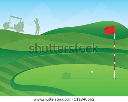 Golf Course Layout with Red Flag and Ball on the Green - stock vector