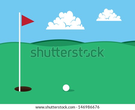Golf course with ball near hole