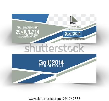 Golf Cup Header & Banner Design - stock vector