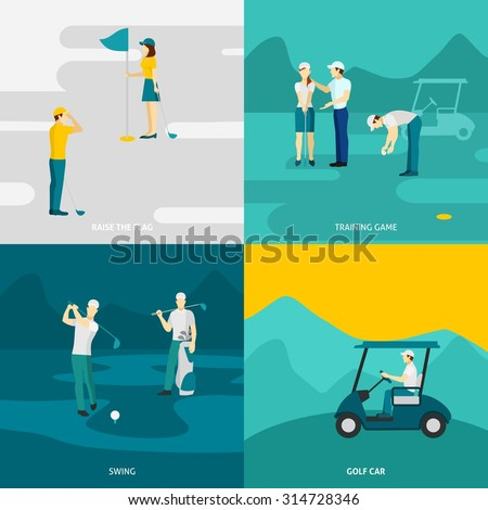 Golf design concept set with traning game and sport accessories flat icons isolated vector illustration - stock vector