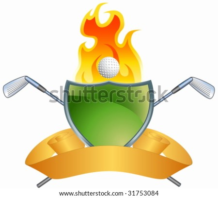 Golf Flame Crest - stock vector