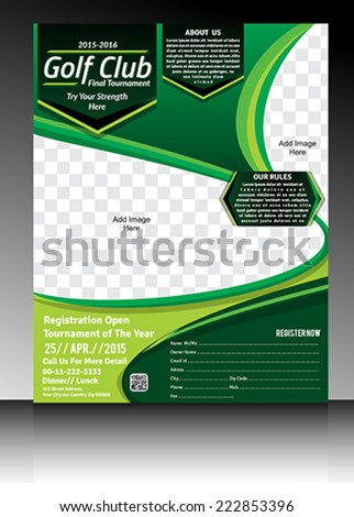 Golf Tournament Flyer Design Brochure Magazine Stock Vector