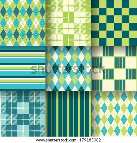 Golf fresh backgrounds. Seamless pattern background with green and blue colors. Vector illustration EPS-10. Pattern Swatches made with Global Colors - quick, simple editing of color - stock vector