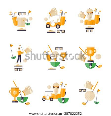 Golf, golf car, golf club, golf ball. Golf icons. Flat style vector illustration. - stock vector