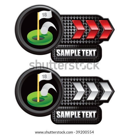 golf green on red and silver arrow nameplate banners - stock vector