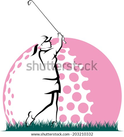 Golf hitting a golf ball out of the rough with pink stylized golf ball behind. - stock vector