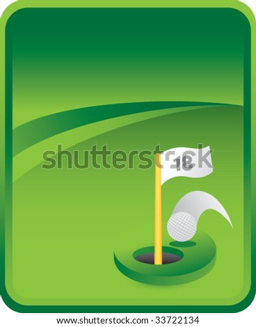 golf hole in one on classic clean background - stock vector