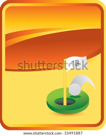 golf hole in one on orange background - stock vector