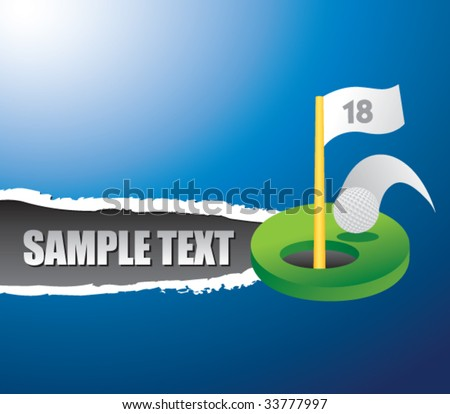 golf hole in one on ripped banner - stock vector