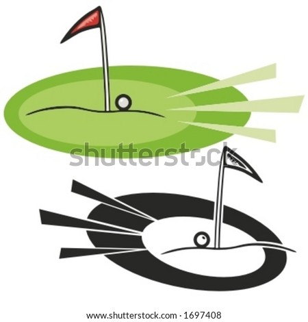 Golf hole with red flag and a ball. Vector illustration - stock vector