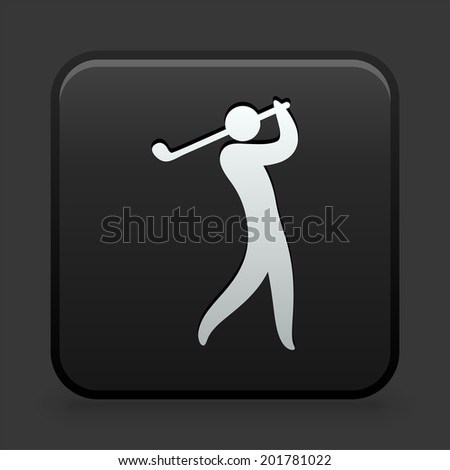 Golf Icon on Black and White Button  - stock vector