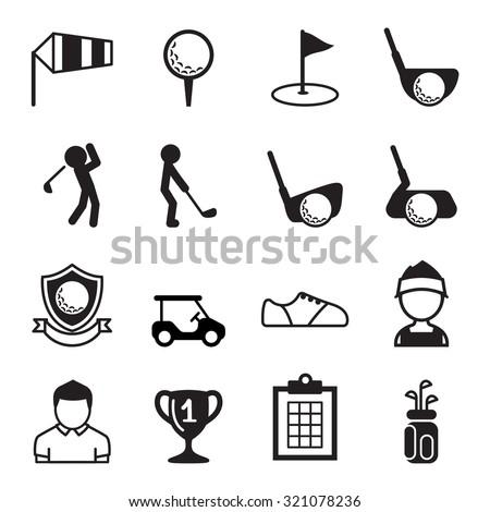 Golf icon set  - stock vector