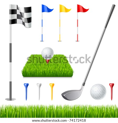 Golf icon set. Golf club, golf flag, golf ball and green glass - stock vector