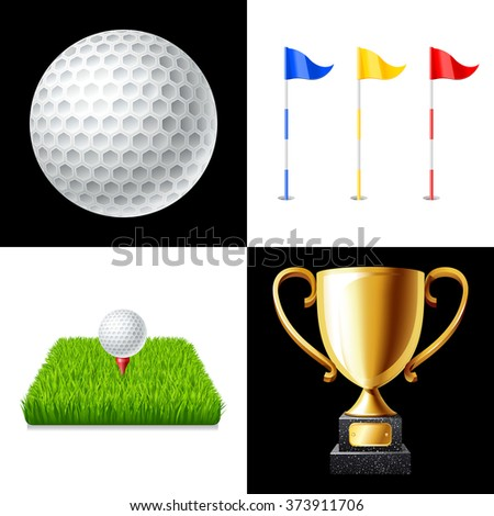 Golf icons set isolated vector illustration - stock vector