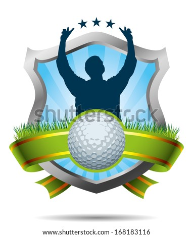 Golf Label with ball and player - stock vector