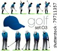 Golf lessons in phases 01 - stock vector