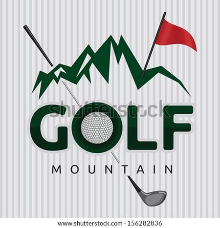 Golf mountain poster template - stock vector