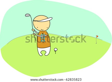 Golf player - stock vector