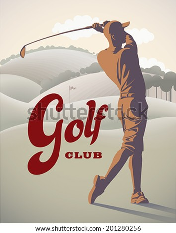Golf player is doing a swing on the field. Retro styled vector illustration. - stock vector