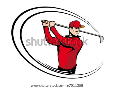Golf player isolated on white for sports design - also as emblem. Jpeg version also available in gallery - stock vector