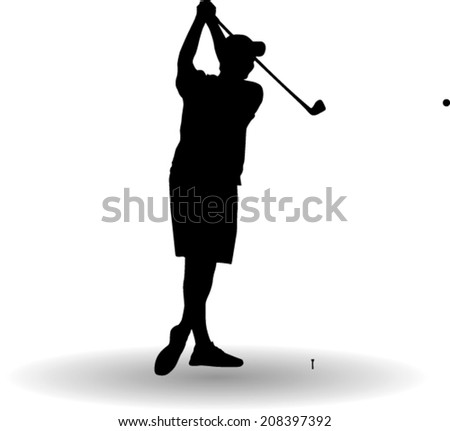 golf player shot silhouette vector - stock vector