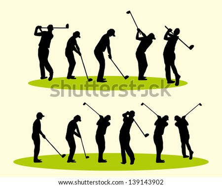 golf player vector art - stock vector