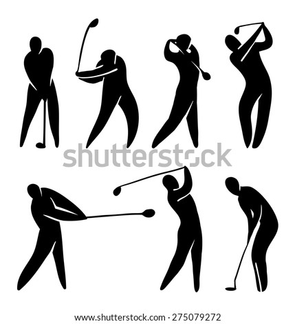 Golf player vector icon set silhouette black on white. Abstract player in gameplay - stock vector