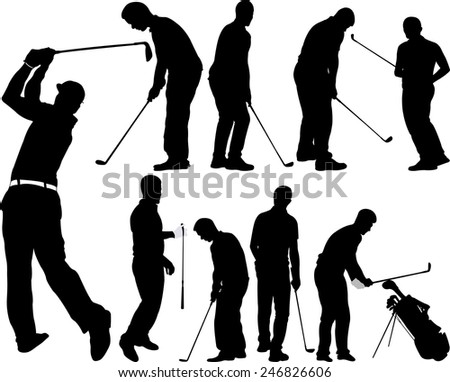 Golf players silhouettes - vector - stock vector