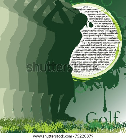 Golf poster with player silhouette - stock vector