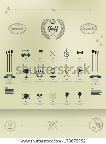 Golf. Set of vintage patterns. Vector Set Golfing Champion Labels and Icons. Emblems for golf