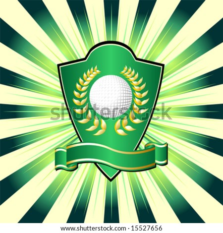 Golf shield theme over colorful striped background - stock vector