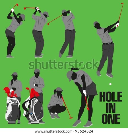 Golf Silhouette Collection - stock vector
