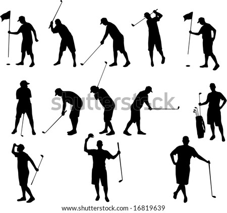 golf silhouettes - stock vector