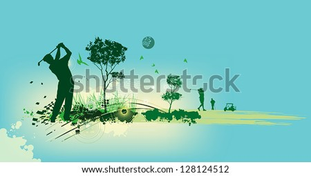 Golf Silhouettes in blue background - stock vector
