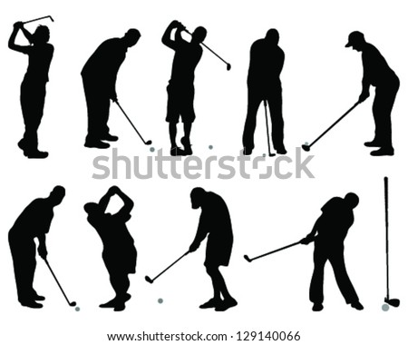 Golf silhouettes-vector - stock vector