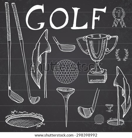 Golf Sport Hand drawn sketch set vector illustration with golf clubs, ball, tee, hole with flag, and prize cup, Drawing doodles elements collection, on chalkboard background. - stock vector