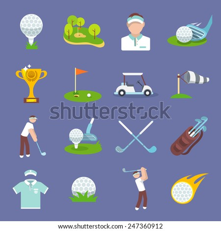 Golf sport icon flat set with golfer flag ball lawn isolated vector illustration - stock vector