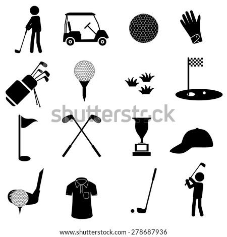 golf sport simple black icons set eps10  - stock vector