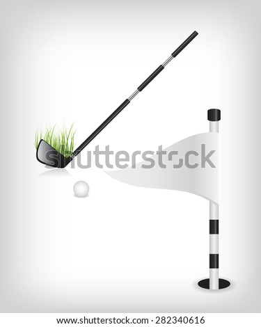 Golf stick and flag - stock vector