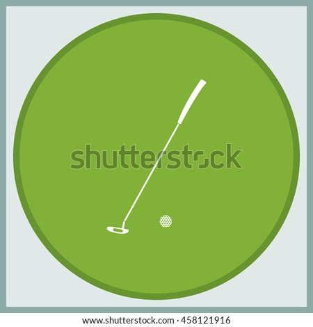 Golf stick illustration. Flat icon.