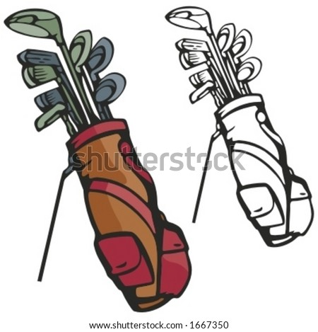Golf sticks with a bag. Vector illustration - stock vector