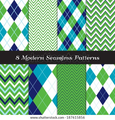 Golf Style Chevron and Argyle Seamless Patterns in Grass Green, Navy, Blue and White with Sky Blue Stripes. Pattern Swatches made with Global Colors - easy to change all patterns in one click. - stock vector