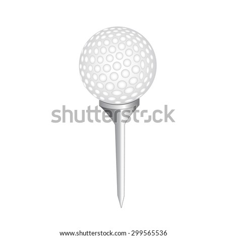Golf tee with ball. - stock vector
