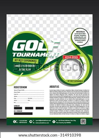 Golf Tournament Flyer Template Vector Illustration