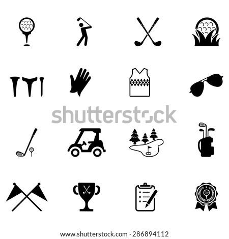 Golf vector icons set - stock vector