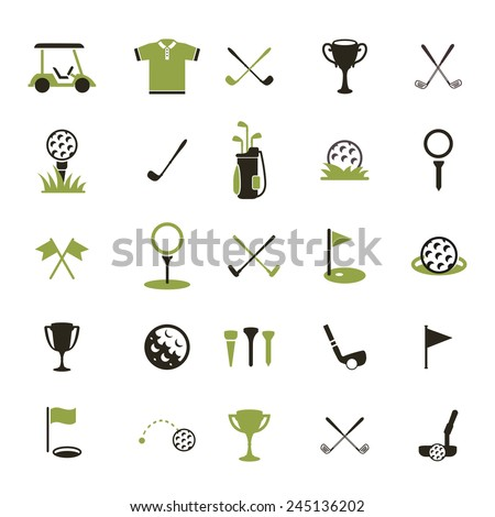 Golf. Vector logo. Set golf icons. Icon of a golf ball and other attributes of the game. - stock vector